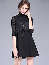 Feminino Evasê Vestido,Casual Simples Sólido Colarinho Chinês Mini Manga ¾ Raiom Fibra Sintética Elastano Outono Cintura Alta
