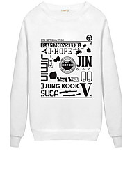 Women's Casual/Daily Sports Active Simple Sweatshirt Letter Print Oversized Round Neck Fleece Lining Micro-elastic Polyester Long Sleeve