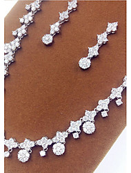 Jewelry Set Crystal Zircon Cubic Zirconia Silver Party 1set Necklaces Earrings Wedding Gifts