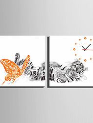 E-HOME® Butterfly and Tiger Clock in Canvas 2pcs