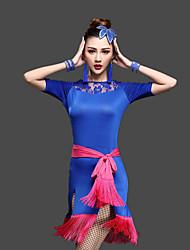 Latin Dance Dresses Women's Training Milk Fiber Lace / Tassel(s) 3 Pieces Short Sleeve High Waist Belt / Dress / Shorts