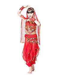 Belly Dance Outfits Children's Performance Polyester Sequins 6 Pieces Sleeveless Dropped Top / Gloves / Waist Belt / Skirt / Headpieces