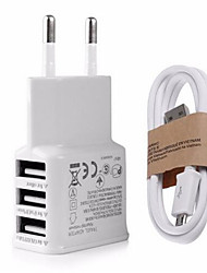 Enchufe EU Enchufe USA Cargador USB del teléfono Puertos Múltiples 100 cm Outlets 3 Puertos USB 2.1A AC 100V-240V