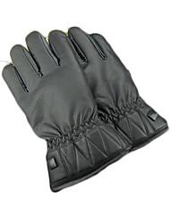 gants en cuir chaud hommes d'hiver imperméables lavés avec peluche gants de moto plus épais
