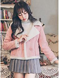 Feminino Curto Casaco Acolchoado,Fofo Sólido Casual-Lã Lã Manga Longa Decote V Rosa Cinza