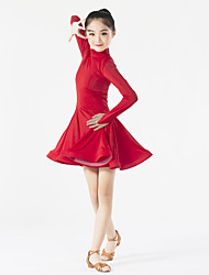 Latin Dance Dresses Children's Performance Spandex Ruffles 1 Piece Long Sleeve Natural Dress