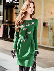 Women's Going out Casual/Daily Holiday Vintage Cute Sophisticated Bodycon Sheath T Shirt Dress,Solid Round Neck Above Knee Long Sleeve