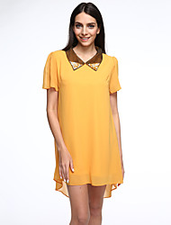 Mulheres Chifon Vestido,Casual / Tamanhos Grandes Simples / Moda de Rua Sólido Colarinho de Camisa Assimétrico Manga Curta AmareloAlgodão