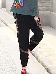 Sign ethnic Chinese style retro women's autumn color of cotton appliqué tape buckle pocket casual pants women