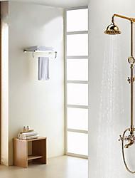 Antique Système de douche Douche pluie Douchette inclue with  Soupape céramique 3 trous Deux poignées trois trous for  Ti-PVD , Robinet