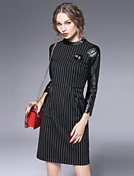 Damen Etuikleid Kleid-Lässig/Alltäglich Einfach Gestreift Ständer Übers Knie ¾-Arm Schwarz Kunstseide / Nylon Herbst Hohe Hüfthöhe