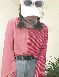 signer port vent sauvage rétro chic main-d'oeuvre manchon fendu nécessaire rayé couture creux chemise t-shirt à manches longues