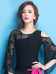 Ballroom Dance Tops Women's Training Lace Lace 1 Piece Long Sleeve Natural Top