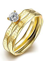 Anéis Zircônia cúbica Casual Jóias Aço Feminino Anel 1 Conjunto,6 7 8 9 Dourado