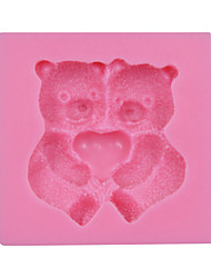 de San Valentín regalo lindo oso fondant pastel molde de silicona para hornear dulces de chocolate sm-030