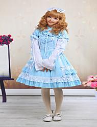 One-Piece/Dress Gothic Lolita / Sweet Lolita / Classic/Traditional Lolita Steampunk® Cosplay Lolita Dress Blue Solid Long SleeveShort