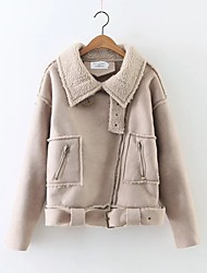Women's Going out / Casual/Daily Simple / Street chic Jackets,Solid Peaked Lapel Long Sleeve Fall / Winter BeigeRayon / Acrylic /