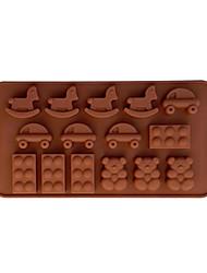 de dibujos animados caballo de batalla del coche del molde del oso torta de la forma