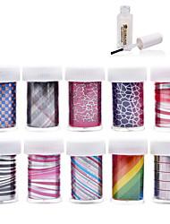 New 100Designs Nail Art Transfer Foil Paper 10pcs + 1pcs Nail Foil Glue (from #51 to #60)