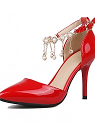 Women's Heels Spring Fall Comfort Leatherette Office & Career Dress Casual Stiletto Heel Beading Pink Red Gray