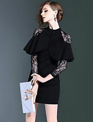 2016 outono e inverno sexy perspectiva rendas colarinho costura magro falso de duas vestido