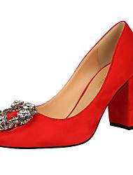 Feminino-Saltos-Chanel-Salto Grosso Salto Alto de Cristal Salto Alto com Jóias-Preto Rosa Roxo Vermelho Cinza Caqui-Courino Pêlo-