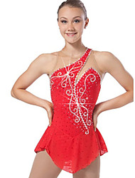 Ice Skating Dress Women's Sleeveless Snowsports Dresses Performance Spandex / Lace / Organza Crystals/Rhinestones / Ruffles 1 Piece  Red