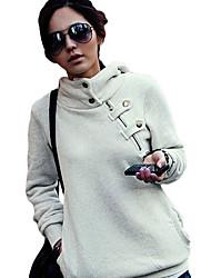 Women's Button Zip Detail Warm Pocket Hoodie