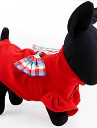 Chien Robe Vêtements pour Chien Décontracté / Quotidien Garder au chaud Nœud papillon Bleu de minuit Rouge