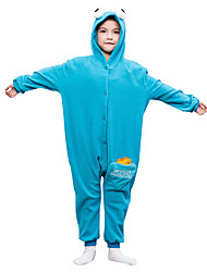 Kids Kigurumi Pajamas Cookie Monster Leotard/Onesie Festival/Holiday Animal Sleepwear Halloween Blue Solid Polar Fleece For Kid Halloween Christmas