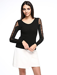 Women's Patchwork Black Blouse,Sexy/Plus Size Lace Mesh Embroidery Elegant V Neck Nylon/Spandex