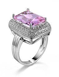 Ring AAA Cubic Zirconia Zircon Cubic Zirconia Gold Plated Alloy Fashion Gold Pink Light Blue Champagne Jewelry Casual 1pc