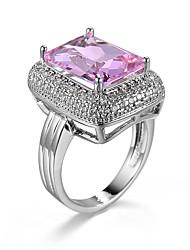 Brand Design Rose gold ring Big pink Cubic Zircon Romantic Engagement Wedding Rings For Women Platinum Plat Copper