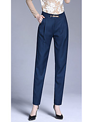 Women's Loose Chinos Pants,Casual/Daily Simple Solid Mid Rise Button Polyester Inelastic Spring Fall