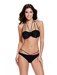 Bikinis Aux femmes Coupé Sport Couleur Pleine Soutien-gorge Rembourré Spandex Polyester