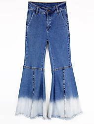 Women's Bootcut Jeans Pants,Casual/Daily Simple Solid Mid Rise Zipper / Button Cotton Micro-elastic Fall / Winter