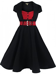 Feminino balanço Vestido, Para Noite / Casual / Tamanhos Grandes Sensual / Moda de Rua Estampa Colorida Decote Quadrado Altura dos Joelhos