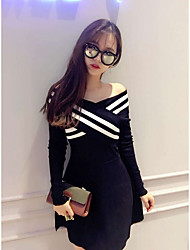 Sign new sexy nightclub ladies knit collar long-sleeved striped strapless dress bottoming