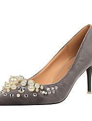 Women's Heels Fall Comfort Microfibre Dress Stiletto Heel Pearl Black / Green / Pink / Red / Gray / Almond / Burgundy