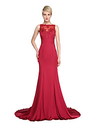 TS Couture® Formal Evening Dress - See Through Trumpet / Mermaid Bateau Court Train Satin Chiffon with Appliques Buttons