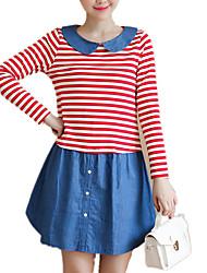 Gravidez Solto Vestido, Casual Simples Poá Listrado Estampa Colorida Decote Redondo Acima do Joelho Manga Longa Azul Vermelho Algodão