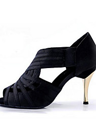 Customizable Women's Dance Shoes Satin Latin Jazz Swing Dancing Shoes Salsa Sandals Practice Beginner Professional