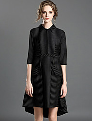 INPLUS LADY Women's Casual/Daily Simple A Line DressStriped Shirt Collar Asymmetrical Long Sleeve Black Rayon Spring / Fall High Rise Micro-elastic