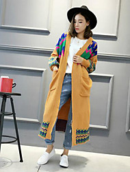 Women's Casual/Daily Vintage Long Cardigan,Print National Style Cowl Long Sleeve