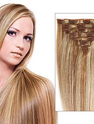 Clip In Human Hair Extensions 7/8 Piece 100% Real Remy Straight Full Head Multi-ply Colors For Woman