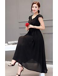 Tee Shirt Robe Femme Décontracté / Quotidien simple,Couleur Pleine Col en U Maxi Manches Longues Coton Eté Taille Haute Micro-élastique