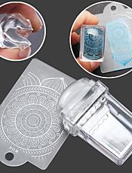Rectangular Transparent Seal Manicure Seal  Template 2 Piece Scraper
