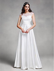 LAN TING BRIDE A-line Wedding Dress See-Through Floor-length Bateau Satin with Sash / Ribbon