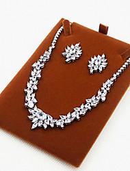 Damen Schmuckset Zirkon Kubikzirkonia Halsketten Ohrringe Für Party Hochzeitsgeschenke