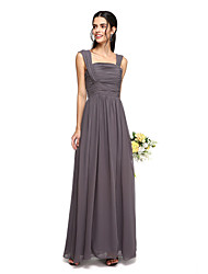 2017 Lanting Bride® Floor-length Chiffon Bridesmaid Dress - Open Back A-line Straps with Ruching